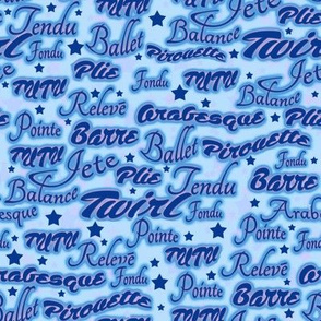 Ballet Words Blue