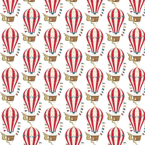 Vintage Ornamental Red Striped Hot Air Helium Balloons