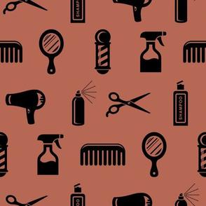 Salon & Barber Hairdresser Pattern in Black with Santa Fe Brown Background (Large Scale)