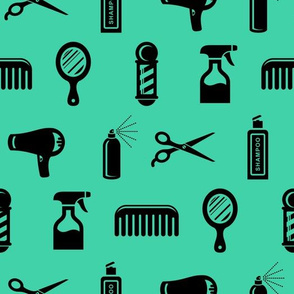 Salon & Barber Hairdresser Pattern in Black with Teal Green Background (Large Scale)