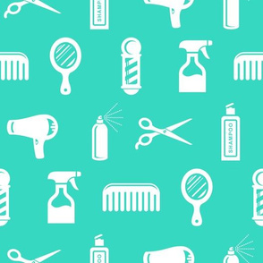 Salon & Barber Hairdresser Pattern in White with Teal Blue Background (Large Scale)