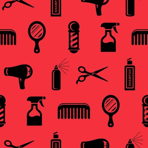 Salon & Barber Hairdresser Pattern in Black with Coral Red Background (Large Scale)