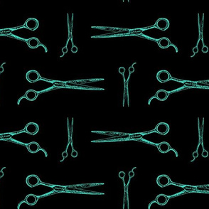 Hair Cutting Shears in Teal Blue with Black Background (Large Scale)