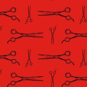 Hair Cutting Shears in Black with Red Background (Large Scale)