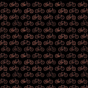 Retro Antique Bicycles in Santa Fe Brown on Black Background (Mini Scale)