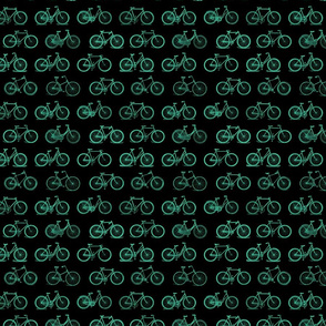 Retro Antique Bicycles in Teal Green on Black Background (Mini Scale)