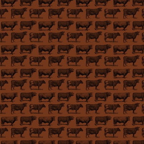 Classic Cow Illustrations in Black with Walnut Brown Background (Small Scale)