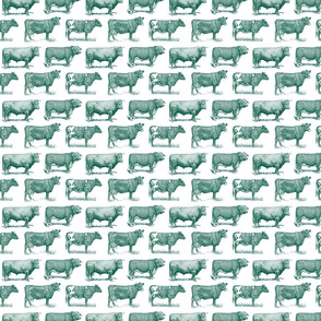 Classic Cow Illustrations in Sherwood Green with White Background (Small Scale)