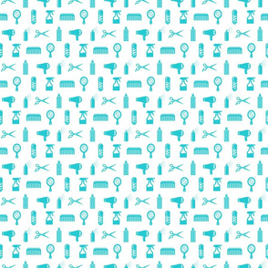 Salon & Barber Hairdresser Pattern in Ocean Blue with White Background (Mini Scale)