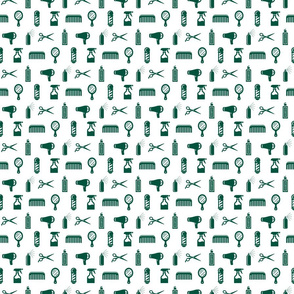 Salon & Barber Hairdresser Pattern in Sherwood Green with White Background (Mini Scale)