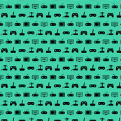 Video Games Pattern in Black with Teal Green Background (Mini Scale)