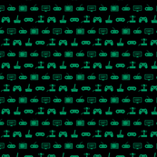 Video Games Pattern in Green with Black Background (Mini Scale)