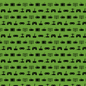 Video Games Pattern in Black with Apple Green Background (Mini Scale)
