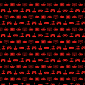 Video Games Pattern in Red with Black Background (Mini Scale)