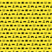Video Games Pattern in Black with Yellow Background (Mini Scale)