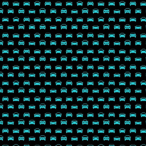 Car Icons in Ocean Blue with Black Background (Mini Scale)