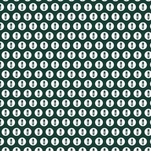 Striped Barbershop Pole Icon Circles Salon & Barber Pattern in White with Dark Green Background (Mini Scale)