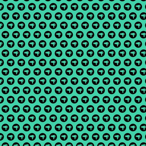 Blow Dryer Icon Circles Salon & Barbershop Pattern in Black on Teal Green Background (Mini Scale)