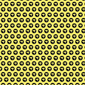 Blow Dryer Icon Circles Salon & Barbershop Pattern in Black on Soft Yellow Background (Mini Scale)