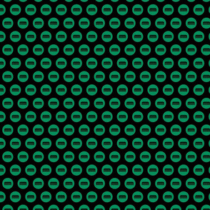 Comb Icon Circles Salon & Barbershop Pattern in Green with Black Background (Mini Scale)