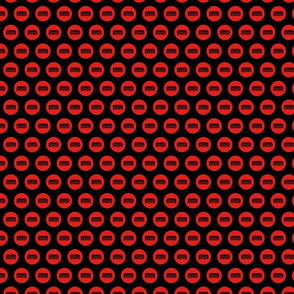 Comb Icon Circles Salon & Barbershop Pattern in Red with Black Background (Mini Scale)