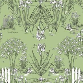 Toile Iris  Pond Pattern Small | Celery Green+Black+White
