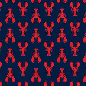 "(1"" scale) lobsters - red on navy - C20BS"