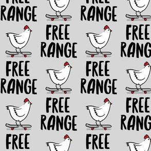 free range chicken - skateboarding chicken - grey - LAD20