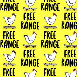 free range chicken - skateboarding chicken - yellow - LAD20