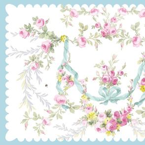 Rococo Rose Swag Tea Towel easter aqua