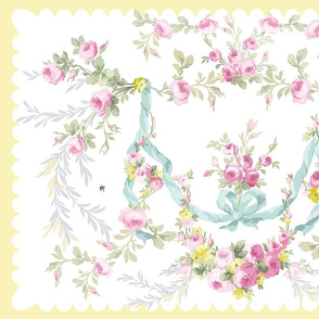 Rococo Rose Swag Tea Towel easter Buttercup