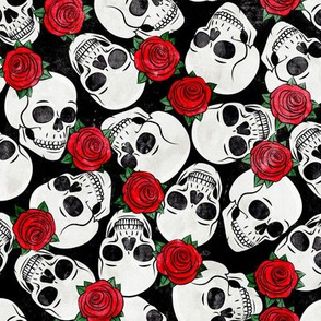 skulls and roses - halloween skeletons - red on black - LAD20