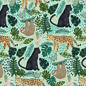 Emerald Forest Animals on Mint Green - Small Scale