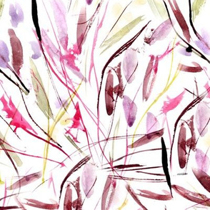 Burgundy Tuscan bushes - watercolor abstract grass in pink shades for modern home decor, bedding, nursery