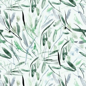 Emerald Tuscan bushes - watercolor abstract grass and leaves