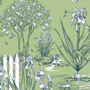 Toile Iris Pond Pattern Small | Celery Green+Navy+White