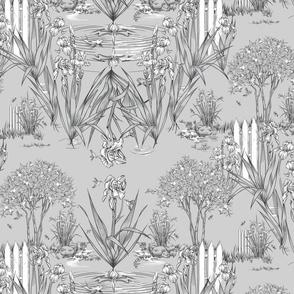 Toile Iris Pond Pattern Small | Light Cool Gray+Black+White