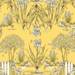 Toile Iris Pond Pattern | Sunny Yellow+Black+White