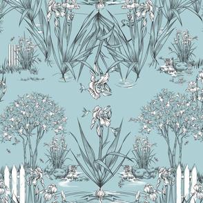 Toile Iris Pond Pattern | Light  Blue+Black+White
