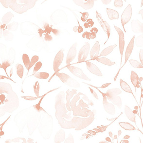 Faded floral Peach Tea Watercolor Flowers