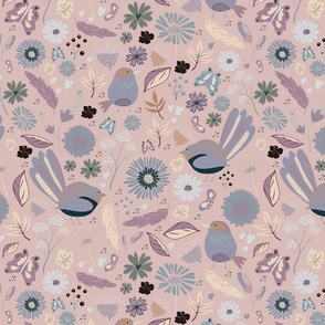 Whimsical seamless autumn floral pattern native birds with pink background