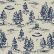 Large-Scale Alien Abduction Toile De Jouy Pattern in Blue