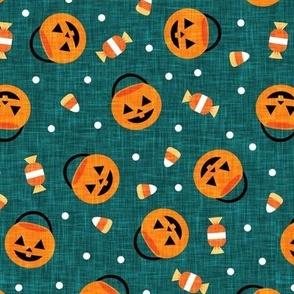 halloween pumpkin candy buckets - trick or treat jack o lantern, candy corn, halloween candy - dark teal  - LAD20