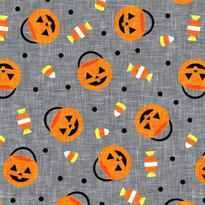 halloween pumpkin candy buckets - trick or treat jack o lantern, candy corn, halloween candy - black on grey - LAD20