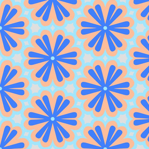 Blue and Coral Floral