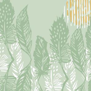 Feather Dance | Soft Green + Golden Yellow