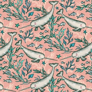 Narwhal Toile - peach pink, extra small print