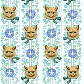 Retro Kitty with Stars* (Sailor)    cat kitten vintage flowers floral stripes 60s 70s kitsch ephemera pastel