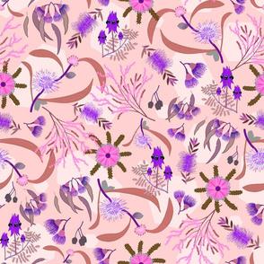 Australian Native Garden #2 (pink/purple) on pink pattern, large