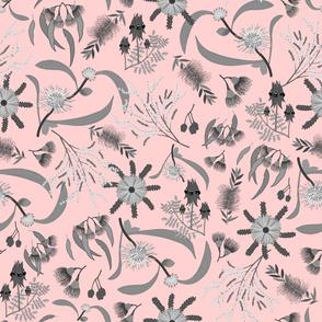 Australian Native Garden - Greyscale on pastel pink, large